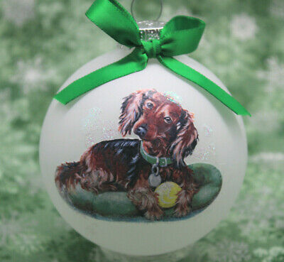 D079 Hand-made Christmas Ornament dog - Dachshund - long haired red laying
