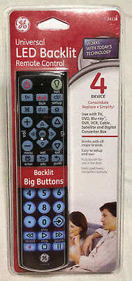 GE 24116 4-Device Big Button Universal Remote Control w/ Full LED Backlighting