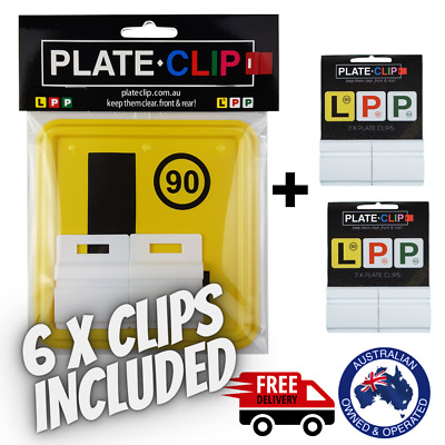 2 x White Plate Clips with 2 x L Plates | FREE Postage | NSW