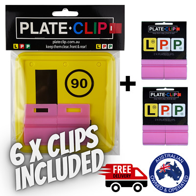 2 x Pink Plate Clips with 2 x L Plates | FREE Postage | NSW