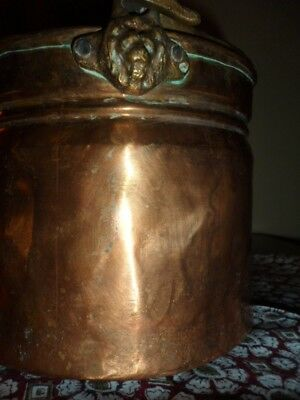 Hammered Copper & Brass Heavy Vintage Floral Planter W/handle & Lions Head