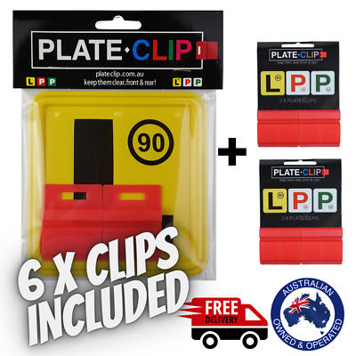 2 x Red Plate Clips with 2 x L Plates | FREE Postage | NSW Only