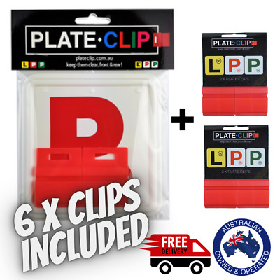 2 x Red Plate Clips with 2 x Red P Plates | FREE Postage | NSW Only