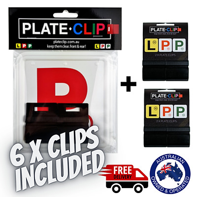 2 x Black Plate Clips + 2 x Red P Plates | FREE Postage | NSW