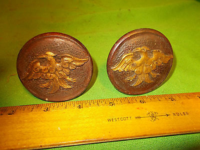 Pair Of Vintage Old Antique Eagle Wood Wooden Thread  Pulls 1 Or 2  Drawer Stand