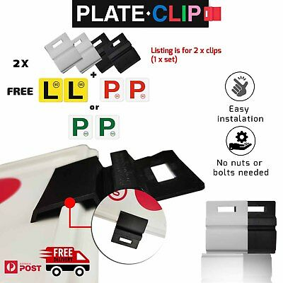 2 x White Plate Clips with 2 x Red P Plates | FREE Postage | NSW Only