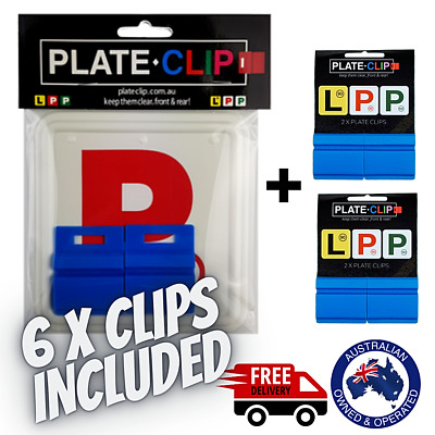 2 x Blue Plate Clips with 2 x Red P Plates | FREE Postage | NSW Only