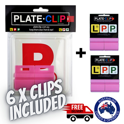 2 x Pink Plate Clips with 2 x Red P Plates | FREE Postage | NSW Only