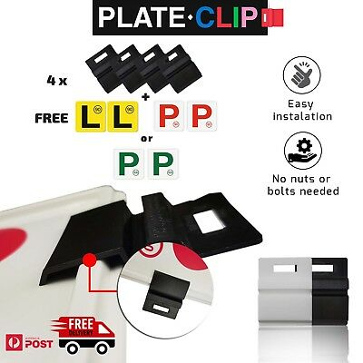 4 x Black Plate Clips + 2 x Green P Plates | FREE Postage | NSW Only