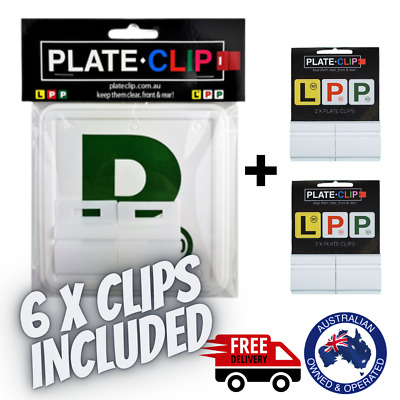 4 x White Plate Clips + 2 x Green P Plates | FREE Postage | NSW Only