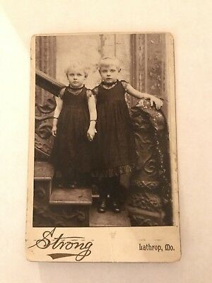 Cabinet Card Two Sisters Identical Dresses