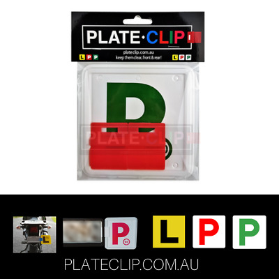 2 x Red Plate Clips with 2 x Green P Plates | FREE Postage | NSW Only