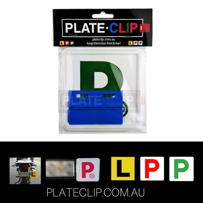 2 x Blue Plate Clips with 2 x Green P Plates | FREE Postage | NSW Only