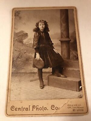 Cabinet Card Pre-Teen Girl With Hat