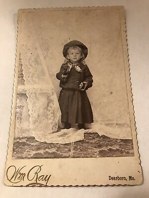 Cabinet Card Little Boy In Dress & Hat With Music Box & Flowers