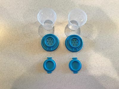 Tupperware 1 Set Of New Mini Salt And Pepper Shakers In Clear Base/blue Seal