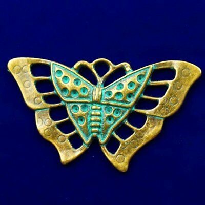 Carved Brass Bronze Butterfly Pendant Bead 56x33x3mm L59707