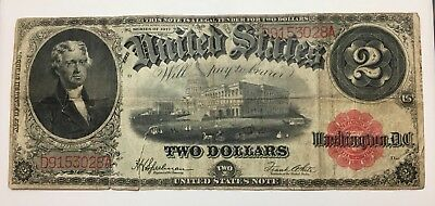 Series Of 1917 Large Size $2 Two Dollar United States Red Seal Note