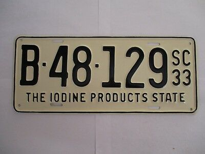 1933 South Carolina IODINE PRODUCTS  License Plate Tag