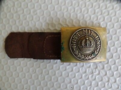 Original Ww1 German Prussian Army Belt Buckle And Leather Tab For Enlisted