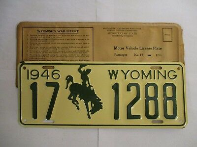 SUPERB 1946 Wyoming  License Plate Tag UNUSED