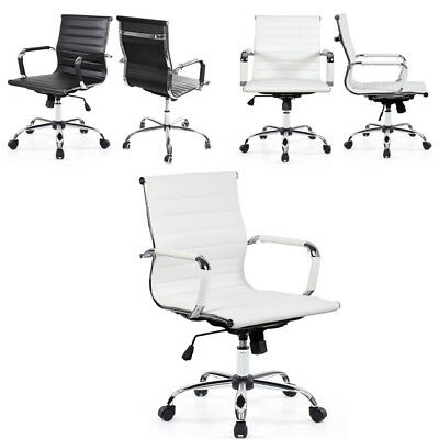 Ergonomic PU Leather High/Mid-Back Comfort Chair Swivel For Computer Desk Office