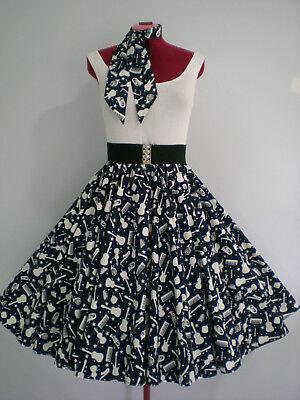 "ROCK N ROLL/ROCKABILLY ""Musical Instruments"" SKIRT-SCARF S-M Navy Blue/White."