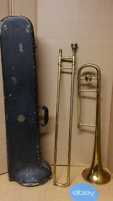 Vintage slide trombone Vincent Bach mouthpiece Conn case instrument