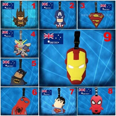 SuperHero Superman Spiderman Batman Gundam Silicone PVC Cartoon Luggage Tag Kids