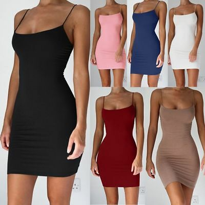 Solid Color Women Sexy Dress Strap Mini Dresses Spaghetti Package Hip