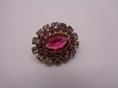 Vintage Brooch Clear /Pink Stones ,Central Faceted Rose Stone Party Prom Fest