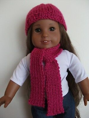 """NEW Hand-Knit American Girl Raspberry Pink Hat & Scarf Set For Any 18"""" Tall Doll"""