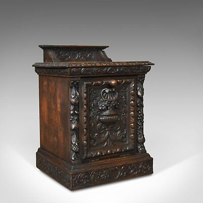 Antique Purdonium, Scottish, Oak, Coal, Fireside Log Bin, Victorian, Circa 1880