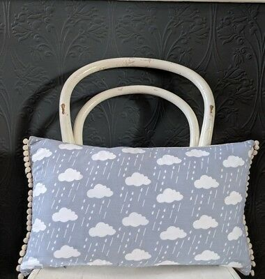 Girls bedroom cloud print pillow. Kids room Cotton and velvet cushion pompom