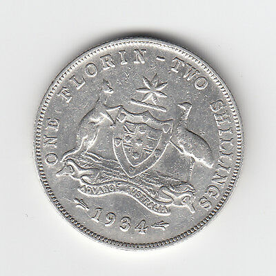 1934 Kgv Australian Florin (92.5% Silver) - 6 Pearls - Great Vintage Coin