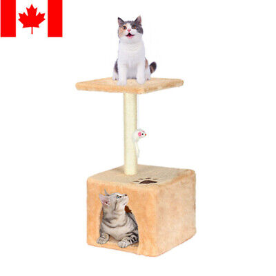 58cm Cat Tree Bed Furniture Scratching Tower Post Condo Kitten Pet House, Beige