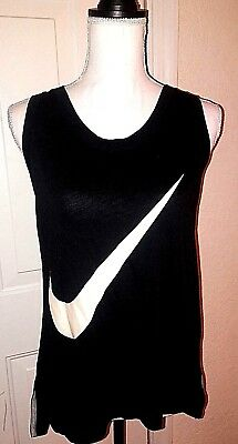 NIKE Women's Medium Tank Top Solid Black Graphic Workout Cotton Blend Athletic