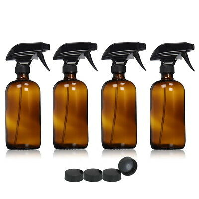Amber Glass Spray Bottles Refillable Aromatherapy Container Trigger Sprayer Caps