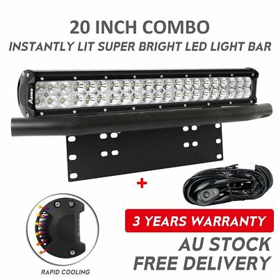 "20"" inch CREE LED Light Bar 210W 23""License Mount Bull Bar Number Plate Frame"