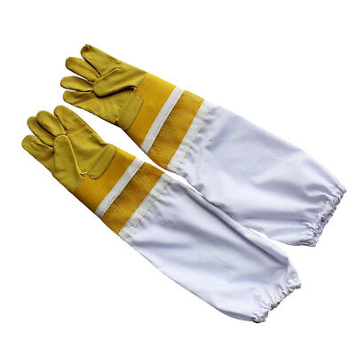58cm Beekeeping Bee Gloves - Soft White Goats Leather with Cotton Gauntlets