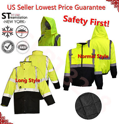 Hi-Vis Insulated Safety Bomber Reflective Jacket Road Work HIGH VISIBILITY 18