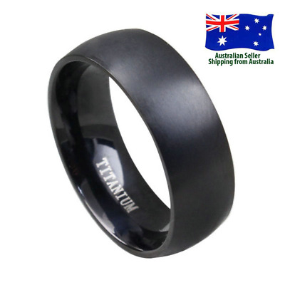 8MM Width Men's Black Titanium Steel Ring Cool Men Women Jewellery Size 8-11
