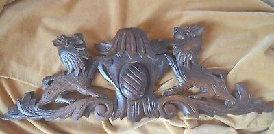 Antique French solid wooden carved oak pediment or fronton, lions