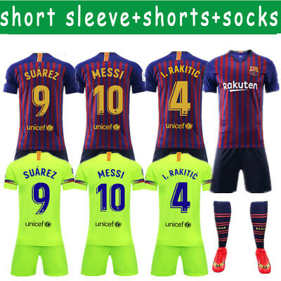 18-19 Kits Soccer Adult Kid football Suit Jersey Kits Men Short Outfits Set SML