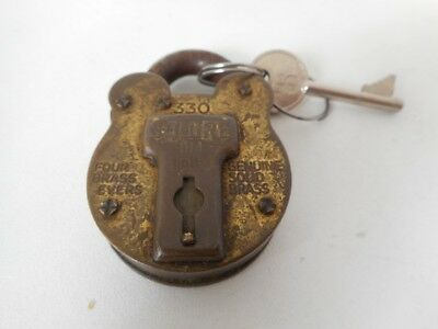 Vintage SQUIRE Old English 330 Genuine Solid Brass Padlock and Key
