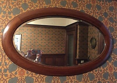 Large Victorian Decorative Walnut Oval Wall Over Mantel Hall Mirror