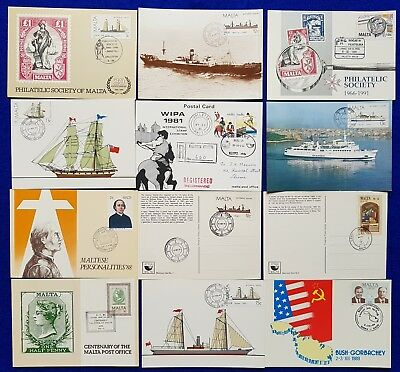 1980's <1990's  Malta Lot/Collection Of 12 USED ES Occasion Cards./ Postal Cards