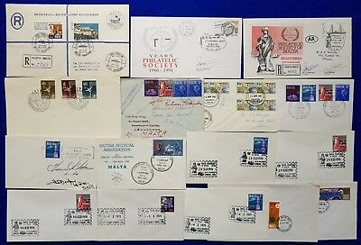 Malta Special Hand Stamp Cancellations SHC + postal Marks on 16 Covers