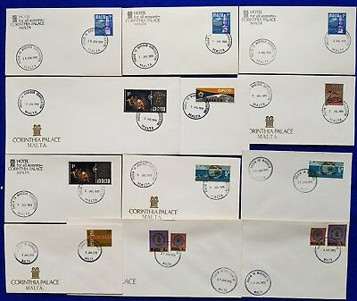 1970/2 Malta PACEM IN MARIBUS Special Hand Stamp Cancellations SHC on 13 Covers.