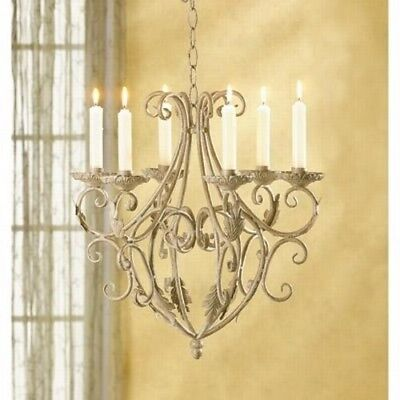 Antique Wrought Iron Chandelier Home Vintage Interior Decor Candle Holder New